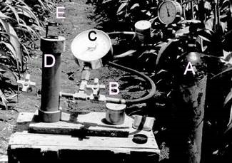 Fig.2. The pressure chamber; (A) pressurized gas cylinder; (B) the chamber pressurizing valve; (C) pressure gage; (D) the chamber; (E) magnifying glass. (A self-made unit – not recommended to follow suit).